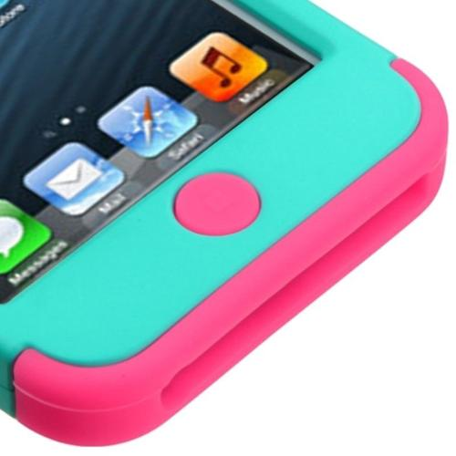 Insten Hybrid 3 Layer Hard Case Cover with Silicone Shockproof Shell for iPod Touch 6 6th 5 5th Gen - Teal Green/Pink