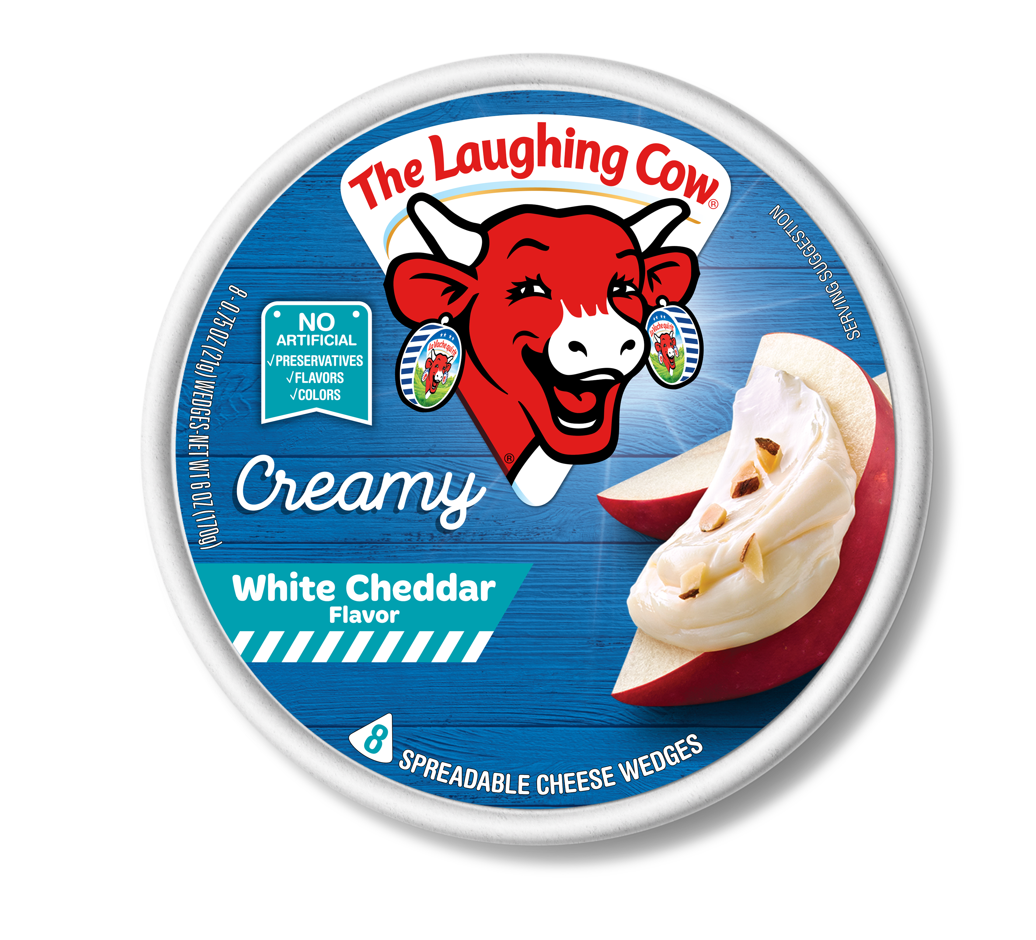The Laughing Cow Light White Cheddar Spreadable Cheese Wedges, 0.75 oz, 8 ct