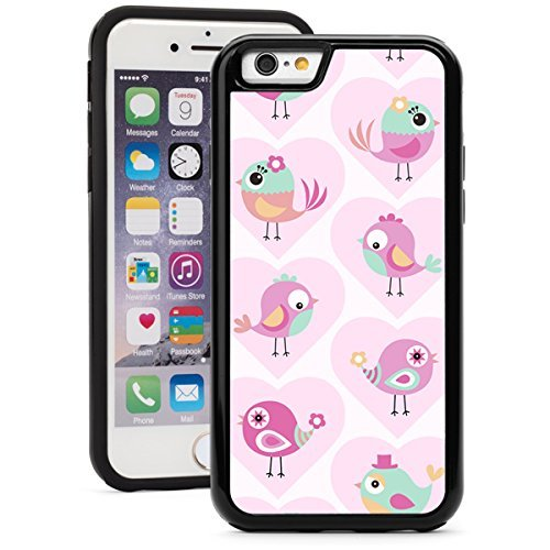 Apple iPhone (6 Plus 6s Plus) Shockproof Impact Hard Soft Case Cover Cute Birds (Black)