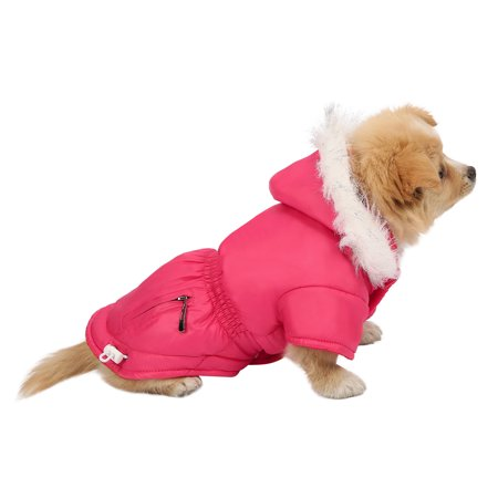 HDE Dog Coat Vest Winter Warm Padded Jacket with Fur Lined Hood Puffer Style Coat