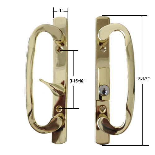 "STB Sliding Glass Patio Door Handle Set, Mortise Type, Latch Lever is Off-Centered, Keyed, Brass Plated, 3-15/16"" Screw Holes"