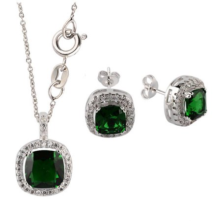 Pori Jewelers Swarovski Elements 14kt White Gold-Plated Cushion-Cut May Emerald Birthstone Earring and Pendant Necklace Set, 18""