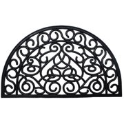 J & M Home Fashions Rubber Iron Heart Doormat 18x30 1/2 Round