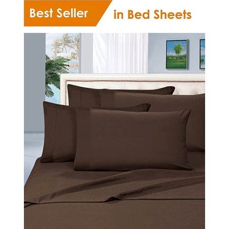 Elegant Comfort 1500 Thread Count Egyptian Quality Microfiber Deep Pocket Bedroom Sheet Set California King Chocolate Brown