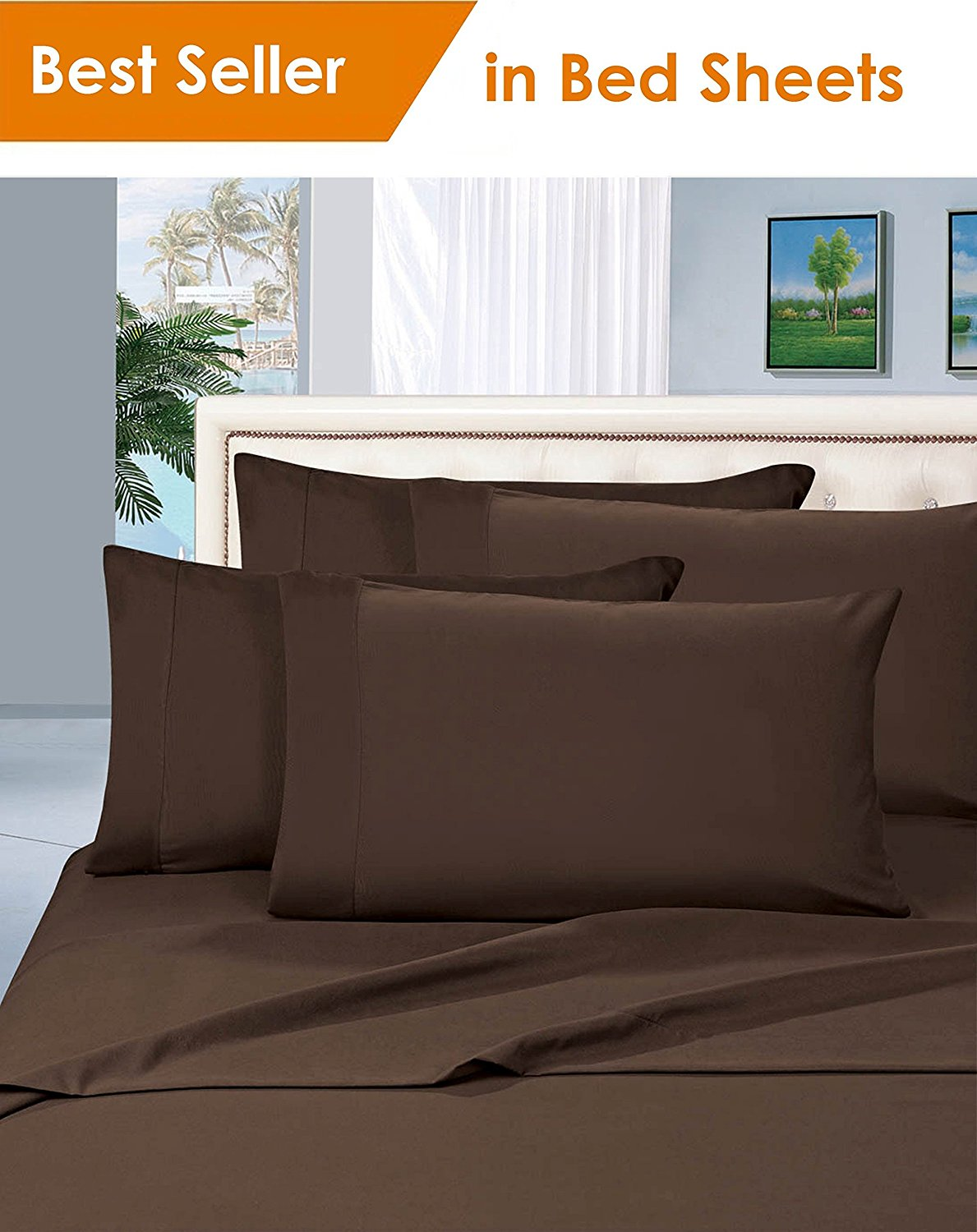 hotel luxury thread count egyptian quality sheet set king chocolate brown