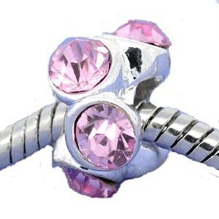 Silver Plated Pink Rhinestone Spacer Beads Fit European Bracelet