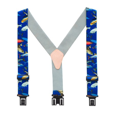 Perry Fish On Blue Novelty Belt Clip Suspenders (3 Sizes) - Novelty Suspenders