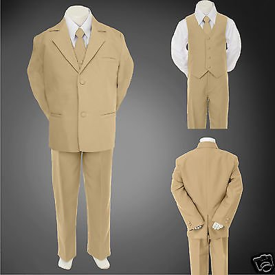 Prom Suit (New Boy Teen Formal Wedding Party Prom Church 5pc Khaki Stone Tuxedo Suit)