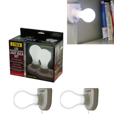 2pc Light Bulbs LED Stick On Pull Chain Battery Powered Bulb Portable Mount - Led Battery Stick