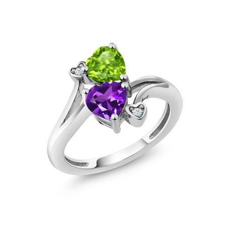 1.51 Ct Heart Shape Green Peridot Purple Amethyst 925 Sterling Silver Ring