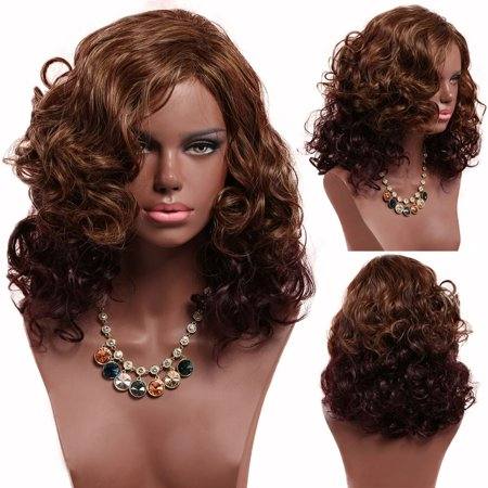 Fashion Medium Ombre Curly Wigs Brown American Afro Synthetic Wig for Women - image 1 of 3