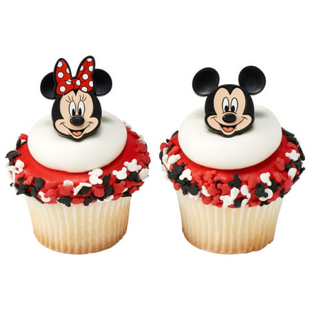 Minnie Mouse Cupcake Wrappers (12 Mickey And Minnie Mouse Cupcake Cake Rings Party)
