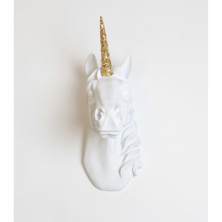 White Faux Taxidermy Faux Unicorn Head Wall Mount