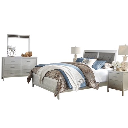 Ashley Furniture Olivet 5 Pc Bedroom Set E King Panel Bed 2 Nightstand Dresser Mirror Silver