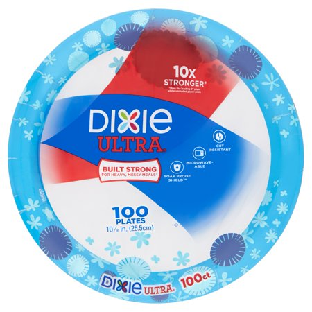 Dixie Ultra Paper Dinner Plates, 10 1/16u0022, 100 Count