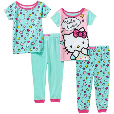 Hello Kitty Infant Baby Girl Cotton Tight Fit Short Sleeve PJs, 4-Pieces