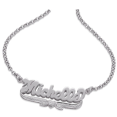 Personalized Sterling Silver Nameplate Necklace with Diamond Accent