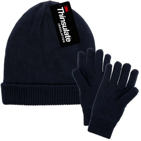 DG Hill Mens Winter Hat And Gloves Set with 3M Thinsulate Fleece Lining Beanie