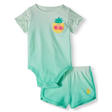 Garanimals Baby Girl Tulip Sleeve Bodysuit and French Terry Shorts, 2-Piece Outfit Set