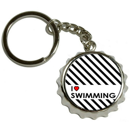 i love heart swimming nickel plated metal popcap bottle opener keychain key ring. Black Bedroom Furniture Sets. Home Design Ideas
