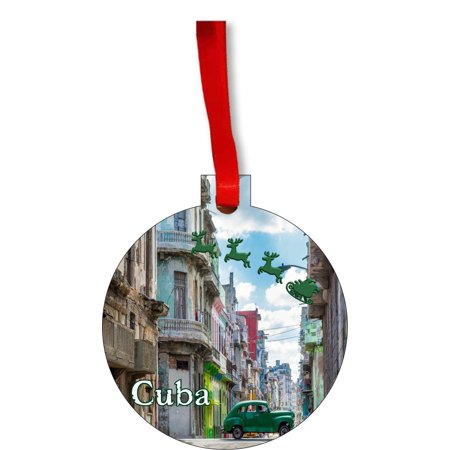 Santa Klaus and Sleigh Riding Over Old Havana, Cuba Round Shaped Flat Hardboard Christmas Ornament Tree Decoration - Unique Modern Novelty Tree Décor Favors ()