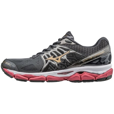 mizuno men's wave horizon running shoe, dark shadow/gold, 8 d us