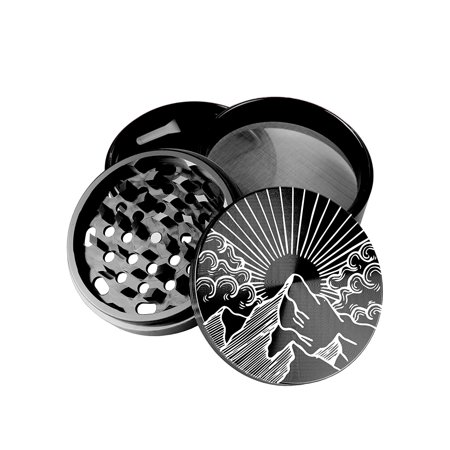 - Large 100 mm 4 inch Largest Herb Grinder Spice Mill Black Anodized Aircraft Grade Premium Aluminium Laser Engraved Mountain Sun