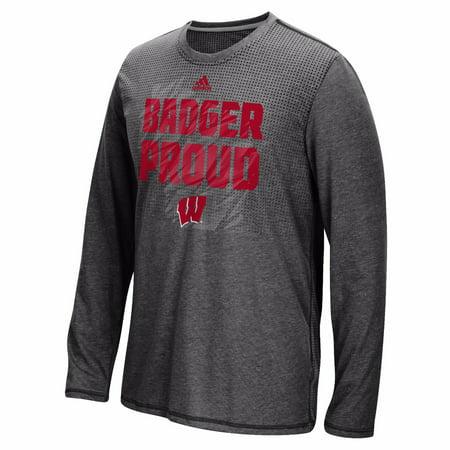 Wisconsin Badgers Ncaa Adidas Mens Black Sideline Energy Aeroknit Long Sleeve T Shirt