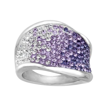 - Luminesse Ring with Purple-Lavender-White Fade Swarovski Crystals in Sterling Silver