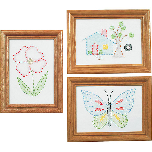 "Stamped Embroidery Kit Beginner Samplers, 6"" x 8"", 3/pkg"