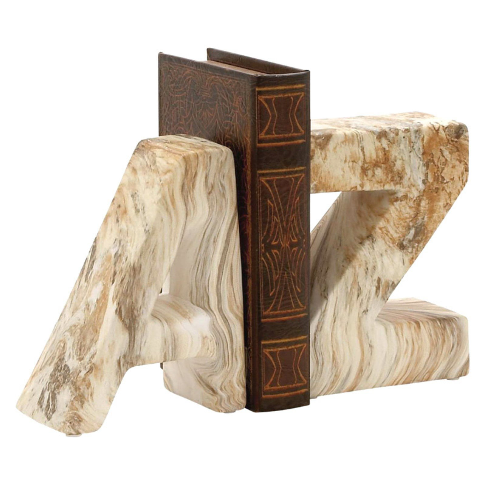 "Attractive Ceramic Marble Finish Bookend Pair 6""W 8""H by Benzara"