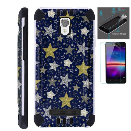 For Coolpad Canvas / Coolpad Splatter Case + Tempered Glass / Slim Dual Layer Brushed Texture Armor Hybrid TPU KomBatGuard (Night Star)](Night Armor)