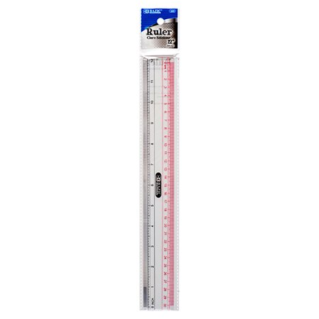 New 374657   Plastic Ruler Clear 12