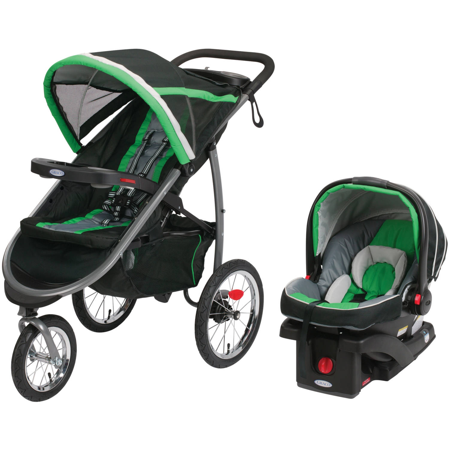 Graco FastAction Fold Jogger Click Connect Travel System Jogging Stroller, Fern