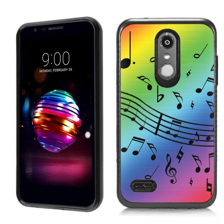 Dual Layer Case for LG Rebel 4 LTE / Risio 3 / Fortune 2 / Zone 4 / Phoenix 4 , OneToughShield ® Hybrid Shockproof Protective Phone Case with Brushed Texture - Music Notes / Rainbow (Music Design Note 3 Cases)
