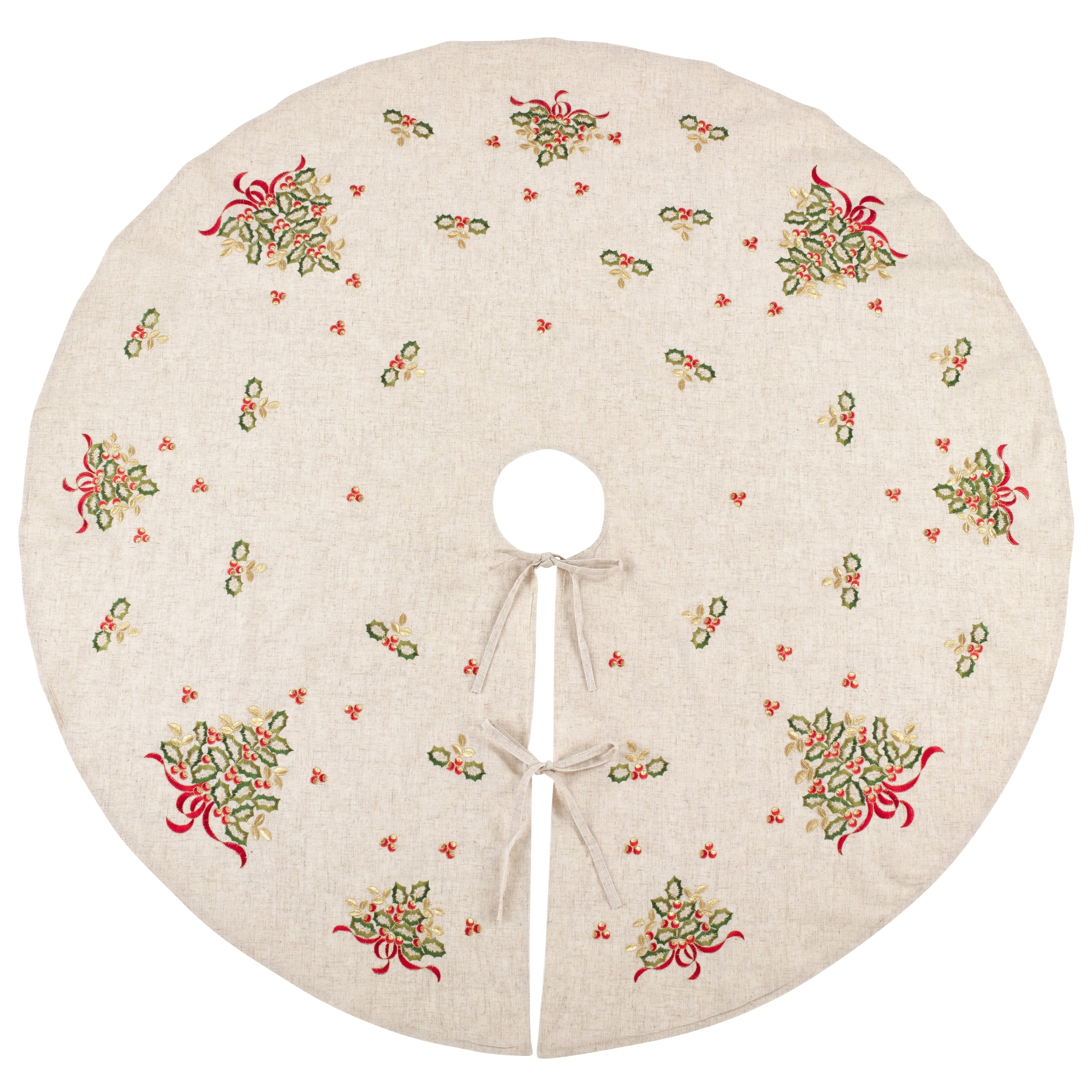 Saro Embroidered Holly Design Decorative Linen Blend Christmas Tree Skirt
