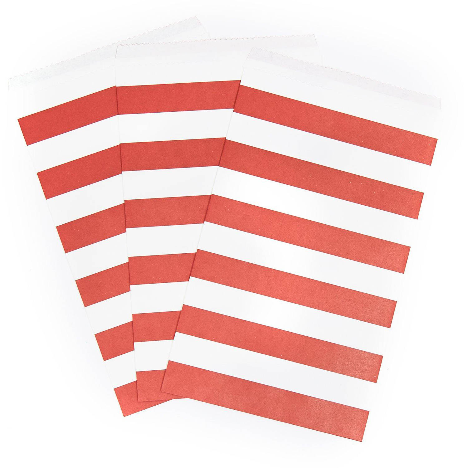 Classic Red Striped Paper Treat Bags, 15pk