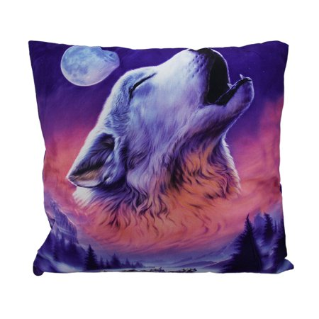 Night Howl Winter Wolf Head Baying At The Moon Throw Pillow 17 Inch (Three Headed Wolf)