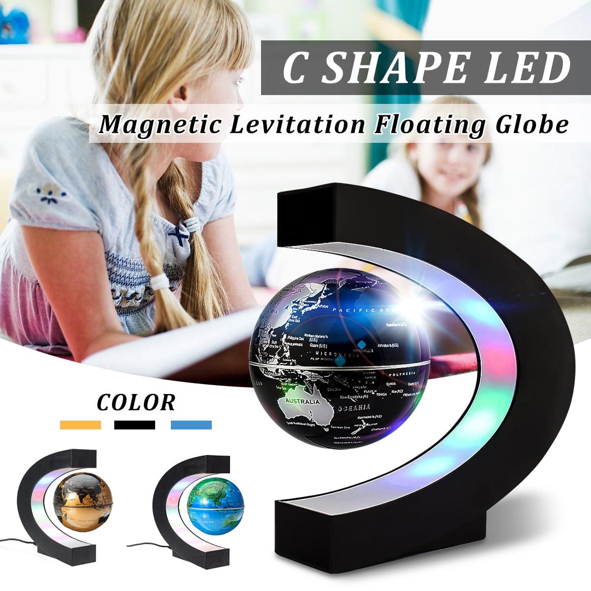 8.5cm/ 3''C Shape Magnetic Levitation Floating Globe with LED Illuminated Lights Floating Globe World Map for Desk Decoration,US Plug,3 Color