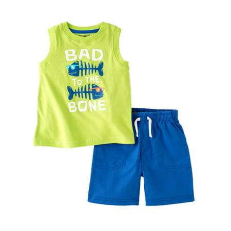 Kids Headquarters Infant Boys 2 Piece Bad To The Bone Tank Top & Shorts Blue Infant Two Piece