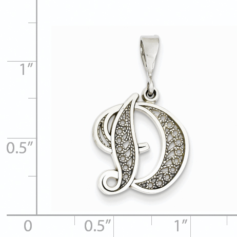 14K White Gold Solid Polished Filigree Initial D Pendant - image 1 of 2