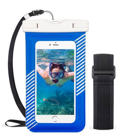 valor universal underwater waterproof pouch dry bag case w/lanyard/armband - blue