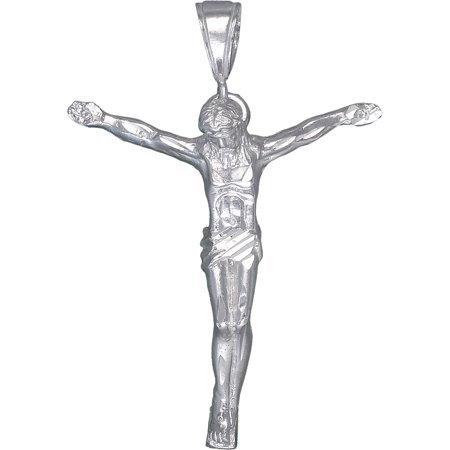 Sterling Silver Jesus Christ Pendant Necklace with Diamond Cuts and 24 Inch Chain - Cheap Jesus Piece Chain