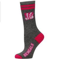 for bare feet cincinnati bengals women's 2-stripe melange crew socks
