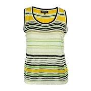 Jones New York Women's Striped Scoop Neck Linen Blend Top