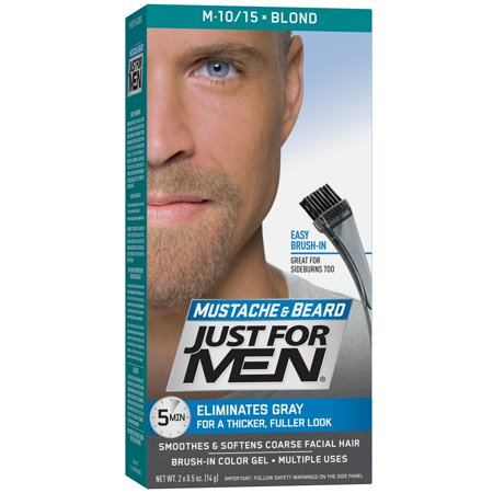 Just For Men Mustache and Beard, Easy Brush-In Facial Hair Color Gel, Blond, Shade