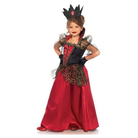 Girls' 2PC. Deluxe Red Queen Costume Gown w/ crown (Queen Gown Costume)