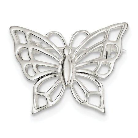 Sterling Silver Solid Polished Textured back Butterfly Pin - 3.5 -