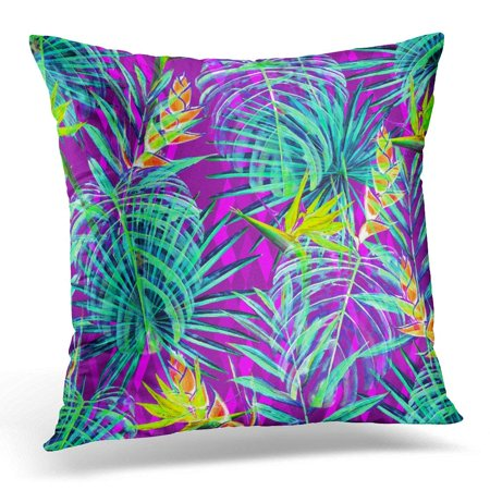 ARHOME Floral Watercolor Palm Leaves with Flowers of Strelitzia Reginae and Heliconia Jungle Foliage on Magenta Throw Pillow Case Pillow Cover Sofa Home Decor 16x16 Inches ()