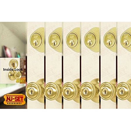 ded5d9cc015d 6 Sets of Contractor Same Keyed Entry Door Knob with Single Cylinder  Deadbolt